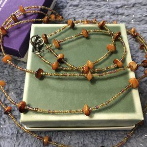 Necklace & Bracelet Tiger eye stones & seed breads